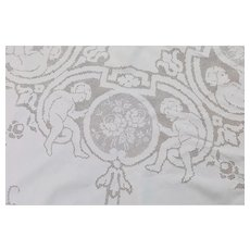 Vintage Edwardian Figural lace tablecloth with cherub angels
