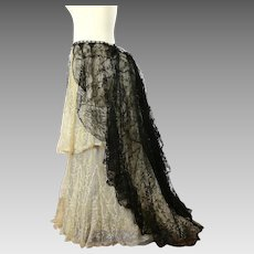 Antique Victorian Chantilly lace skirt