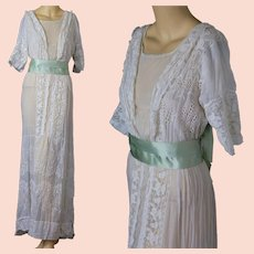 Antique Edwardian white eyelet lace tea gown w silk ribbon sash