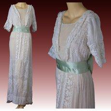 Antique Edwardian white eyelet lace tea gown w silk ribbon sash