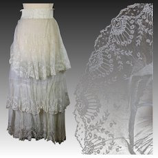 Antique Edwardian tiered bridal skirt Brussels lace applique on silk net