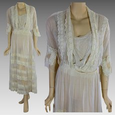 Antique Edwardian lace tea gown tiered