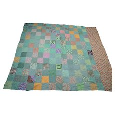 Vintage 30s 1930s quilt top w pieced triangles
