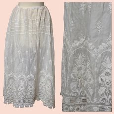 Antique Edwardian white embroidered skirt