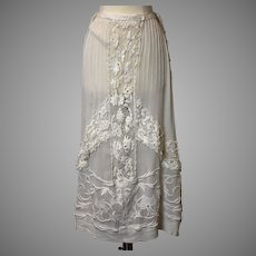 Antique Edwardian skirt with Irish crochet lace insertions
