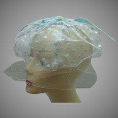 Vintage 1950s blue Net hat veil
