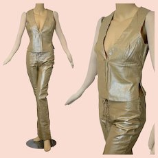 Vintage 60s 70s leather lace up pants + vest set Designer Nina Morris