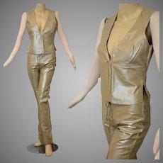 Vintage 60s 70s leather lace up pants + vest set Designer Nina Morris