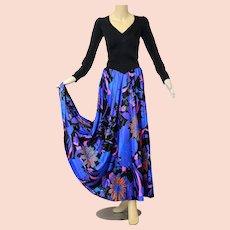 Vintage 70s 1970s boho purple neon floral maxi dress Olga Loungewear