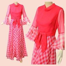 Vintage 70s boho hippie pink neon check maxi dress Miss Elliette California