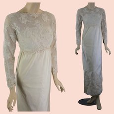 Vintage 60s Bergdorf Goodman wedding dress beaded silk w lace