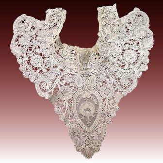 Antique lace Duchesse lace yoke collar w point de gaze inserts