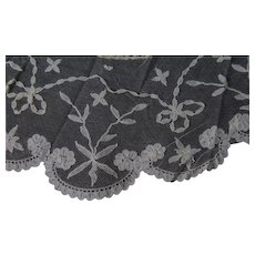Antique Brussels lace Bertha collar on net