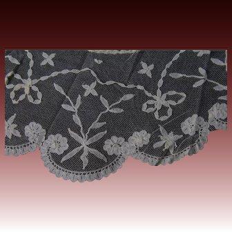 Antique Brussels lace Bertha collar on net