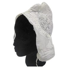 Antique lace day cap hat embroidered net late 18th Century
