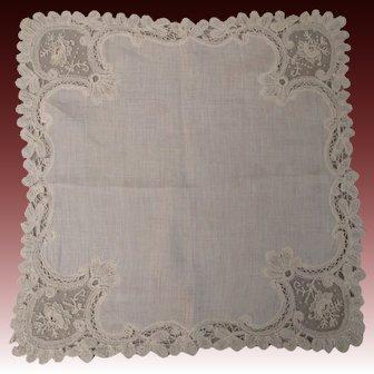 Antique Victorian Point De Gaze lace bridal handkerchief