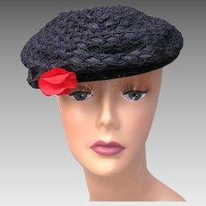 Vintage 40s Navy blue straw beret tilt hat