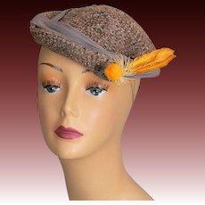 Vintage 40s tilt hat all original flowers feathers tilt band