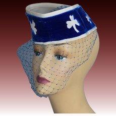 Vintage 40s tilt hat with face net Clover motifs Don Marshall