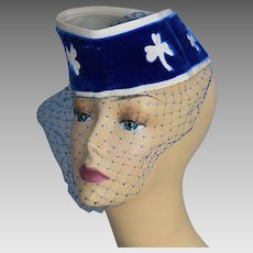 Vintage 40s tilt hat with face net Clover motifs Don Marshall