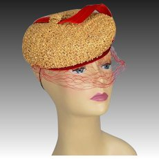 Vintage 40s straw tilt hat face net plus red velvet ornament