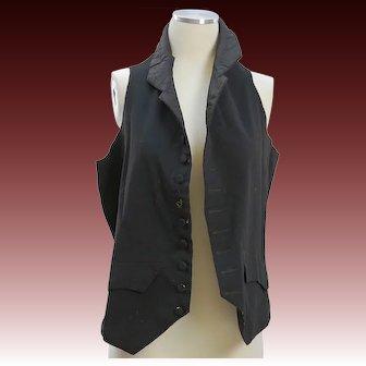 Antique men's waistcoat black wool late 18C circa last quarter