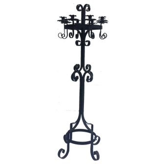 Gothic style wrought iron standing candelabra from the 1960's