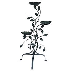 Green painted wrought iron plant stand