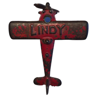 "1920's Hubley Cast Iron ""Lindy"" Lindbergh toy airplane"