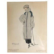 Original 1922 French Hand colored Pochoir stencil portrait from Gazette du Bon Genre