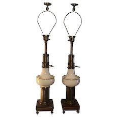 Pair of mid-century Stiffel table lamps with signature brass and white porcelain with gold paint