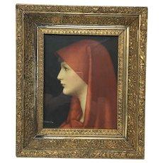 Vintage print is Henner's Saint Fabriola in vintage gilded wooden frame.