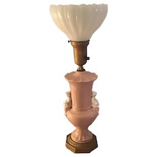 Mid-century table torchiere lamp with milk glass shade in pink porcelain and brass with white porcelain figure on sides