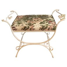 1930's Vintage Wrought Iron Vanity Seat - reupholstered in vintage fabric