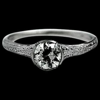 Art Deco 0.75 CTW Diamond Platinum Solitaire Engagement Ring