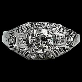 Art Deco .67 ct Old European cut Diamond Ring 1930's GIA