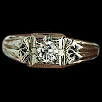 Art Deco 0.25 ct Old European Cut Diamond Engagement Ring 18 Kt White Gold