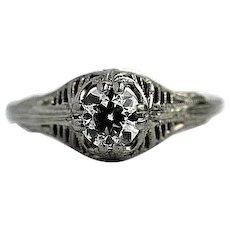 Art Deco 0.71 ct Old European Cut Diamond Engagement Ring 18 Kt White Gold