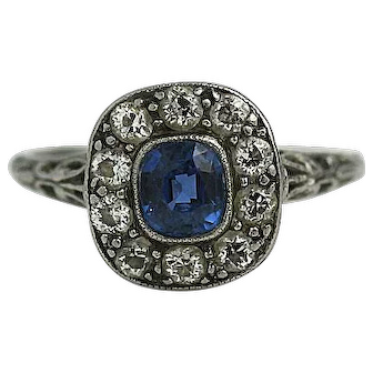 Magnificent Estate Art Deco Sapphire and Diamond Engagement Ring In Platinum