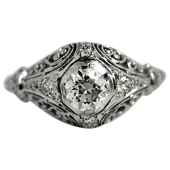 Art Deco .60 CTW Diamond Platinum Engagement Ring
