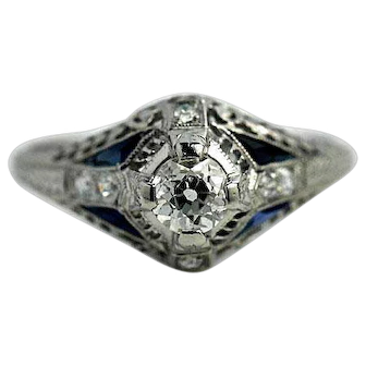Vintage Art Deco Diamond and Synthetic Sapphire Engagement Ring Platinum Circa 1930's