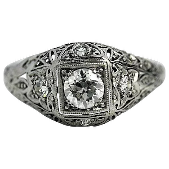 Art Deco Engagement Ring Platinum Circa 1930's