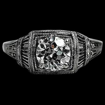 Antique 1.15 CT Diamond Engagement Ring