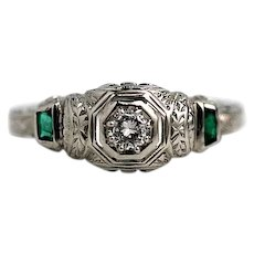 "Art Deco Diamond and Synthetic Emerald Engagement Ring Signed ""Barth Jewelers"""