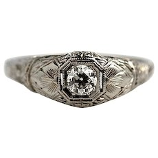 "Art Deco Diamond Engagement Ring 18 Kt White Gold Signed ""Barth"" .30 ctw 1930's"