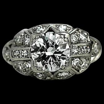 Art Deco 1.01 ct Diamond Platinum Engagement Ring