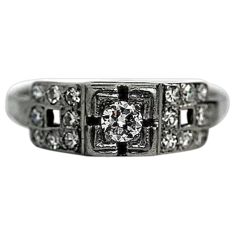 Petite Art Deco Engagement Ring