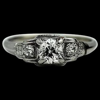 Antique Art Deco Diamond Engagement Ring Platinum .65 Carat