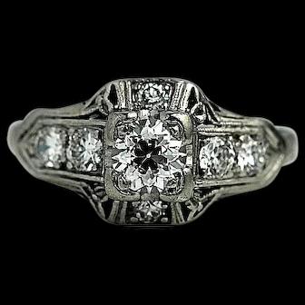 Platinum Antique Diamond Engagement Ring