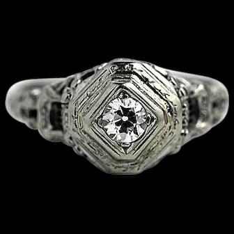 Art Deco Diamond And Sapphire Filigree Ring Circa 1920's
